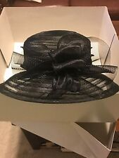 """Giovannio New York  BLACK Hat With Netting Ribbon and Satin Ribbon, 13.5"""" wide"""