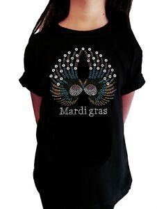 "Girls Rhinestone T-Shirt "" Colorful Mardi Gras Wings "" in All Sizes"