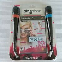 Playstation 2 Singstar '80's Video Game New NIP Sealed 2 MIcrophones 2007