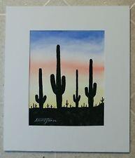 Contemporary Original Watercolor Stuart Jones Saguaro Cactus Sunset Silhouette