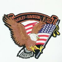 Harley Davidson Emblem Patch Eagle Flag Stars Stripes 6 1/2 Wide 6 Tall NEW