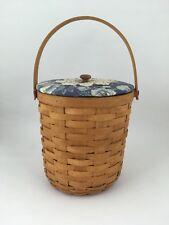 Longaberger 1995 Tall Fruit Basket w Protector Cottage Garden Fabric Lid