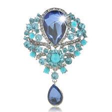 Elegant Rhinestone Crystal Drop Flower Brooch Breastpin Wedding Gift Jewelry New