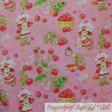 BonEful FABRIC FQ Cotton Quilt VTG Pink Strawberry Shortcake Girl Doll Dog Retro