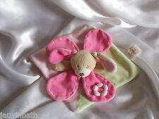 Doudou lapin rose, vert, beige, fleur, Baby Nat, (Babynat)