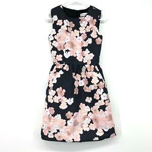 Red Valentino Dress Womens Size 38 Blue Pink Floral Print Satin Sleeveless ALine
