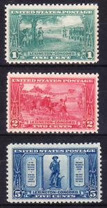 US Scott 617-619 old 1c-5c Lexington-Concord issue M/NH/OG/VF CV $30