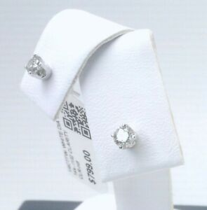 $800 WOW CERTIFIED 1/4CTTW CT REAL Diamond Stud Earrings 14k WHITE Gold SOLID!