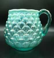 Fenton 5th Anniversary Signed Fenton Family Teal Iridescent Pitcher/Jug 6 1/2""