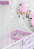 10PCS BEDDING SET BUMPER PILLOW DUVET SHEET FIT COT 120x60 Sweet animals pink