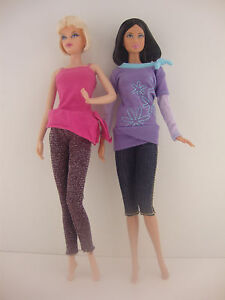A Set of 2 Pant Outfits with Tops and Pants Made to Fit the Barbie Doll