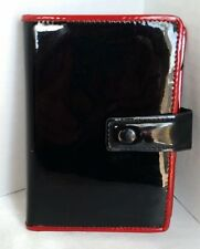 """Plan Ahead Mini Pocket Organizer Cover Wallet Wire Planner Black Red Patent 4""""x6"""