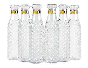 Crystal Clear Water Bottle Set of 6 1 litre, Plastic Fridge Water Bottle Set, Id