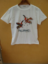 Pusong Pinoy Philippines Two Cocks White T-Shirt Size S/M