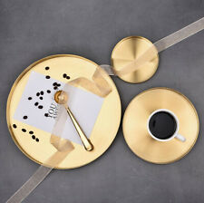 Round Gold Tray Straight Edge Jewelry Cosmetic Make up Candle Tea Storage Plate