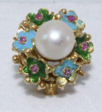 Vintage beauty! Solid 14K sea pearl genuine ruby, enameled flower ring 6.1gr.