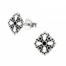 925 Sterling Silver White Bali Ethnic Stud Earrings