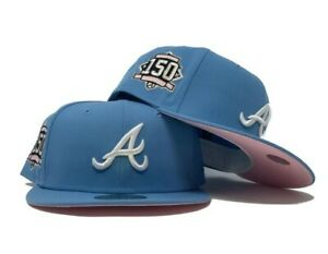 ATLANTA BRAVES 150TH ANNIVERSARY SKY BLUE PINK BRIM NEW ERA FITTED HAT 7 1/2