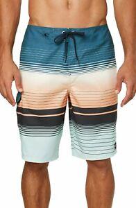 O'Neill Mens Swimwear Slate Blue Size 36 Lennox Striped Board Shorts $39- 068