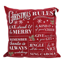 Square Vintage Christmas Rules Red Christmas Cushion Decoration Xmas Pillow 16""