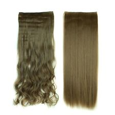 100% Real Natural Brown Blonde As Human 3/4Full Head Clip In Hair Extensions A4h