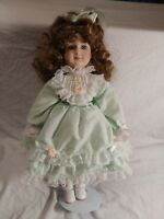 Vintage Porcelain Doll 16 Inch Green Eyes & Dress With Stand