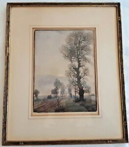 """ANTIQUE ETCHING, E. Papendick (IXX-XX), """"Helle Fruhling Nacht"""", Signed, Titled"""
