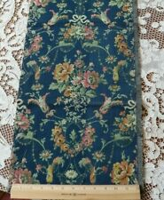 "Vivid Dark Blue French Vintage Antique Jacquard Tapestry Fabric~Roses~36""X12& #034;"