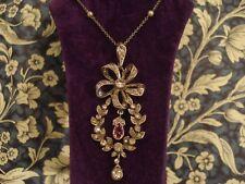 Exquisite Antique Art Nouveau: La Belle Epoque; Diamond Paste Stones Set Pendant