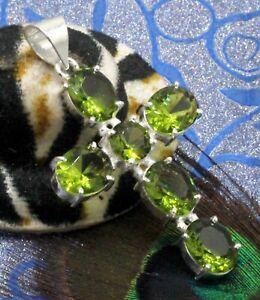 "925 Sterling Silver Green Peridot Gemstone Jewelry Cross Pendant Size-2"""