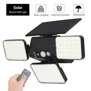 Waterproof 2000LM LED Solar Sensor Wall Light Outdoor Adjustable 3 Heads Lamp AU