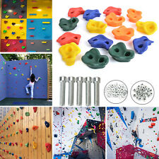 15X Rock Climbing Holds Wall Stones In/Outdoor Kids Playground With Fixing Set