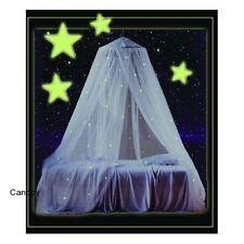 Glow in the Dark Canopy White Stars Girls Bedroom Glowing Nightlight Net Netting