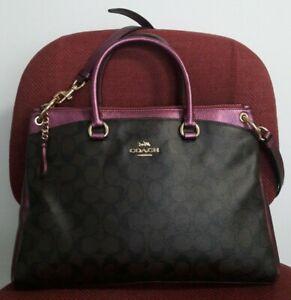 AUTH COACH MIA SIGNATURE PVC SATCHEL BAG PURSE F87706 BLACK/PURPLE $498_RARE