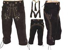 NEUE Trachten Lederhose Kniebundlederhose + Träger antik-schwarz Oktoberfest