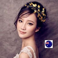 Women Girl gold color leaf Wedding Bride Party Prom Hair Headband Headpiece PROP