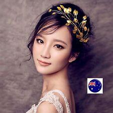 Women Girl gold color leaf Wedding Bride Party Prom Hair Headband Headpiece PROP