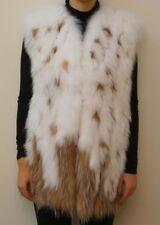 New Belle Fare White/Tan Fox Fur Vest Size Small