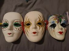 Clay Art Ceramic Mask  Lot Of 3 Porcelain Mardi Gras Lady Decor New Orleans