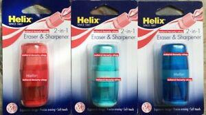 3 x Helix 2 in 1 Pencil Sharpner & Eraser Sealed Pack MULTI-COLOURED✏️✏️✍️✏️✏️