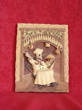 """Chef Having Dinner 6"""" X 5"""" 3D Riggsbee Italian Wall Plaque Collectible"""