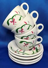Rare Sterling China Pink Green Floral Airbrush 8pc Cup Saucer Set Restaurantware