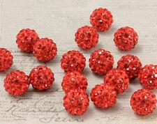 500pcs 10mm 5 RowAAA Rhinestone shamballa beads disco ball Crystal beads red