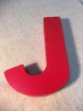 Letter J Big Vtg Wood Block Type Italic Font 8in X 5in X 15in Red