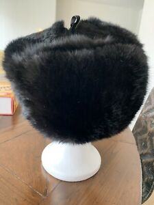 Black Mink Fur Russian Trapper Hat Worn Few Times Immaculate Condition