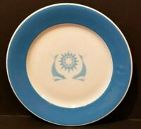 "JACKSON CHINA  10"" Plate TWO FISH / DOLPHINS ?  Blue Band  (Dated 1962 ?)"