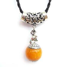 Orange Resin Alloy Metal Bird Pendant Jewelry