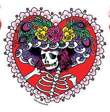 40081 Sugar Skull Flower Dead Girl Brunette Retro Sunny Buick Sticker Decal