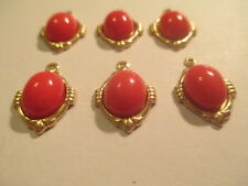 12 Vintage Coral Glass Charm 14x12 mm Gold Plated Brass   MC1