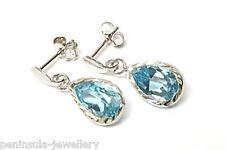 9ct White Gold Blue Topaz Teardrop earrings Gift Boxed Made in UK